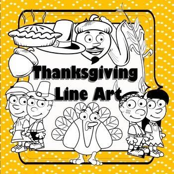 Thanksgiving Clipart - Line Art