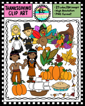 Thanksgiving Clipart Set - 27 Full Color & BW Illustrations {KT Creates}