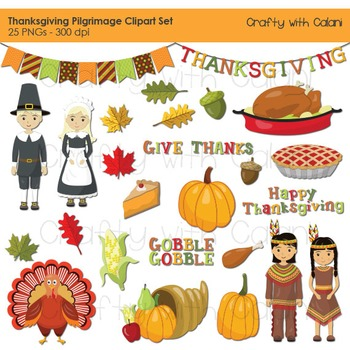 Thanksgiving Clipart, Thanksgiving pilgrimage clipart, Native American Clipart