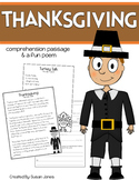 Thanksgiving Close Reading Passage & Poem