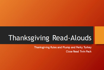 Thanksgiving Close Read Twin Pack for  K-2