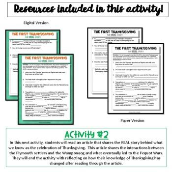 History of Thanksgiving:  Close Read and Writing Activity {NO PREP}
