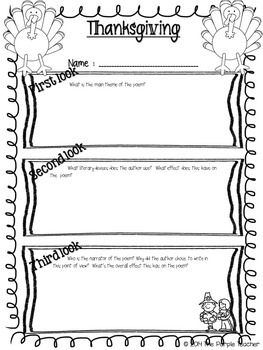Thanksgiving Close Reading Poem and Writing Activity