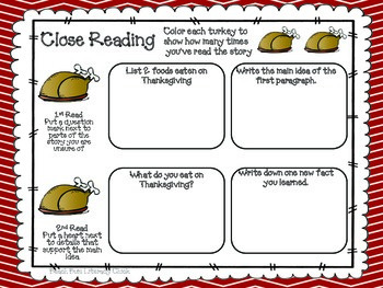 Thanksgiving - Close Reading and Activities