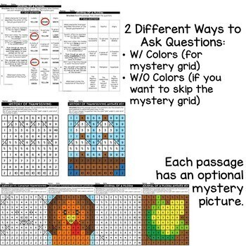 Thanksgiving Close Reads w/ Mystery Picture Activity for Grades 3-6