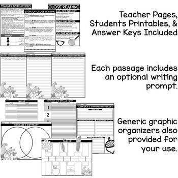 Thanksgiving Reading Comprehension   Thanksgiving Activities   Close Reading