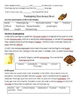 Thanksgiving Cloze