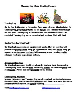 Thanksgiving Cloze Reading passages w/pictures and English