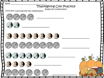 Thanksgiving Coin Worksheets (1, 2, and 3 combinations)