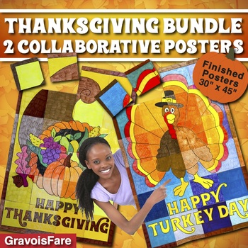 Thanksgiving Collaborative Posters: Cornucopia and Turkey Classroom Decorations
