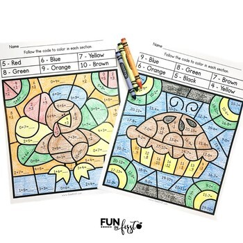 Thanksgiving Color By Code - Addition and Subtraction Bundle