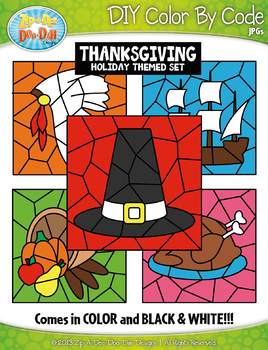 Thanksgiving Color By Code Clipart {Zip-A-Dee-Doo-Dah Designs}