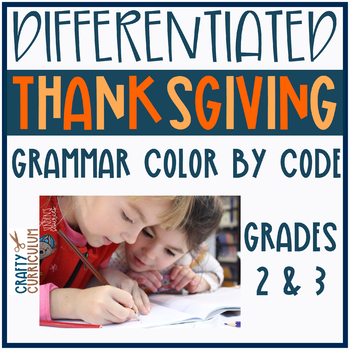 Thanksgiving Color By Code Differentiated 3 Levels Parts of Speech