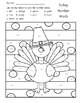 Thanksgiving Color By Code Kindergarten Packet