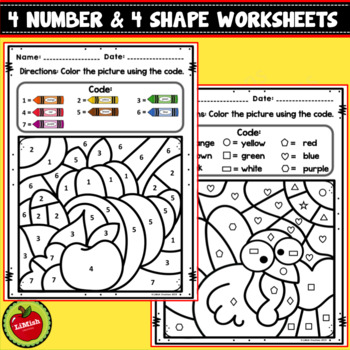 Thanksgiving Color By Code (Numbers And Shapes)