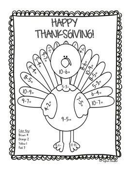 Thanksgiving Color-By-Code Subtraction Freebie!