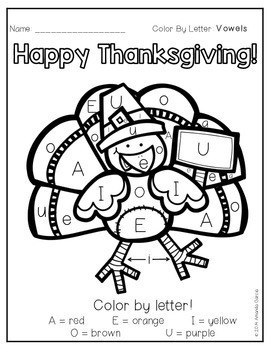Thanksgiving Color By Letter
