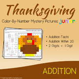 Adding Color By Number Thanksgiving Math Number Art (Facts, Within 20, 2-Digits)