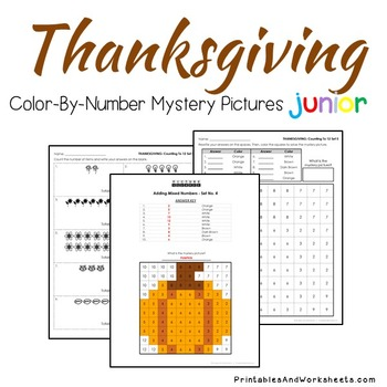 Thanksgiving Color-By-Number: Counting/Greater Than/Less Than (K-2)