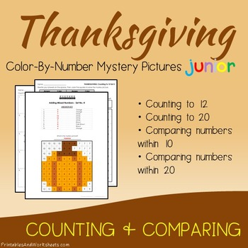 Thanksgiving Kindergarten Math Counting Numbers, Comparing Numbers