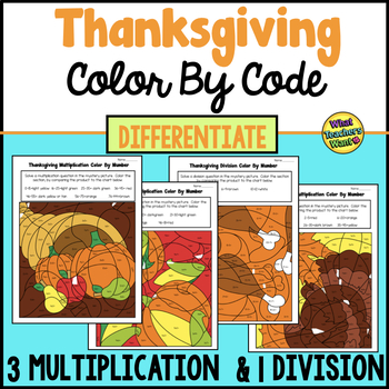 Thanksgiving Color By Number - Differentiated - 3 Multiplication and 1 Division