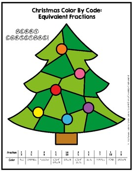 Christmas Color By Number - Equivalent Fractions