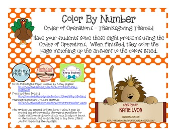 Thanksgiving Color By Number - Order of Operations