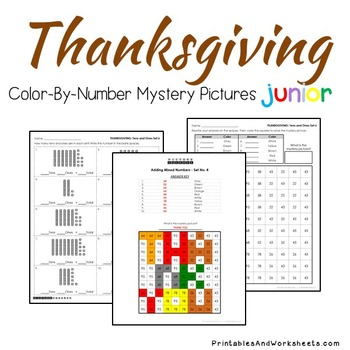 Thanksgiving Math Place Value Worksheets Color-By-Number Code