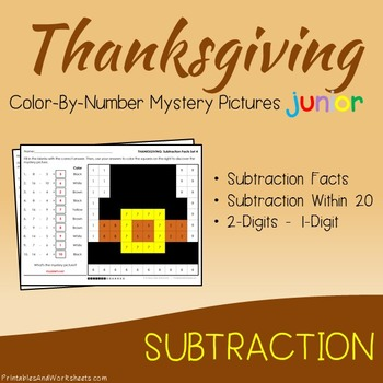 Thanksgiving Math Subtraction Worksheets, Mystery Pictures Coloring Sheets