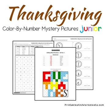 Thanksgiving Telling Time to the Hour Coloring Sheets