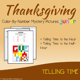 Thanksgiving Telling Time Coloring Worksheets, Mystery Picture Math Activity