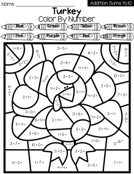 Thanksgiving Color By Number Worksheets: Addition and Subtraction Within 10