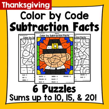 Thanksgiving Color By Subtraction Facts: Minuends up to 10, 15, & 20