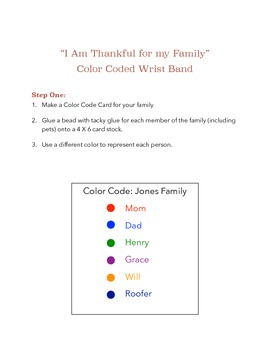 Thanksgiving Color Coded Wristbands  {Craftivity}