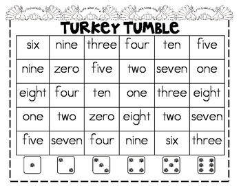 Thanksgiving Color & Number Word Games