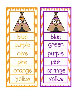 Thanksgiving Color Word Activity - Clip Cards