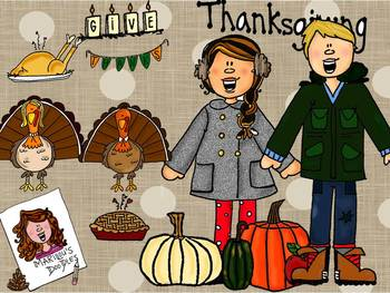 Thanksgiving Color and Black and White Bundles by Marilou's Doodles
