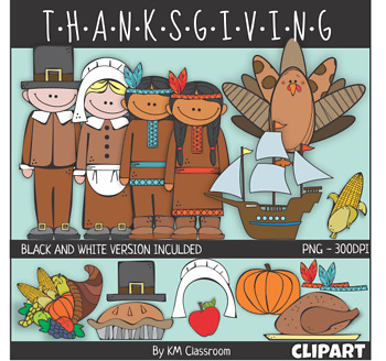 Thanksgiving Color and Line Art ClipArt