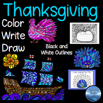 Thanksgiving Crafts: Thanksgiving Coloring Pages and Thanksgiving Writing Pages