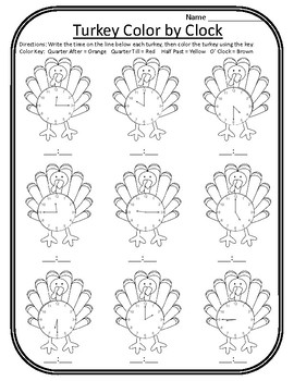 Thanksgiving Color by Clock Thanksgiving Time Turkey Time Turkey Math Center