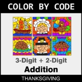 Thanksgiving Color by Code - 3-Digit + 2-Digit Addition