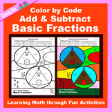 Thanksgiving Color by Code: Add & Subtract Basic Fractions