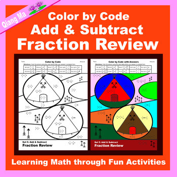 Thanksgiving Color by Code: Add & Subtract Fraction Review