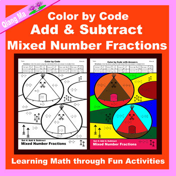 Thanksgiving Color by Code: Add & Subtract Fractions 5 in 1