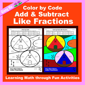 Thanksgiving Color by Code: Add & Subtract Like Fractions