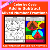 Thanksgiving Color by Code: Add & Subtract Mixed Number Fractions