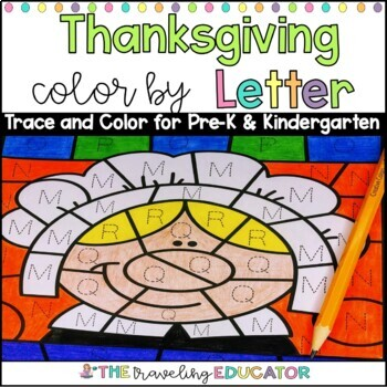 Thanksgiving Color by Code Alphabet Trace Worksheets by The ...