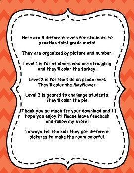 Thanksgiving Color by Code Differentiated 3 Levels