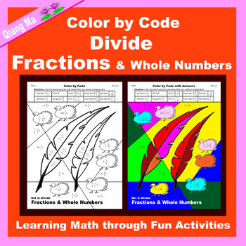Thanksgiving Color by Code: Divide Fractions & Whole Numbers