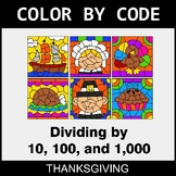 Thanksgiving Color by Code - Dividing by 10, 100, and 1,000